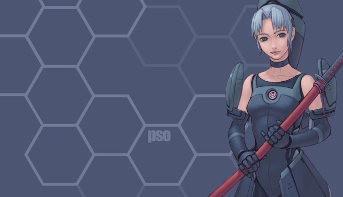 A Phantasy Star Online character stands in front of a stylish honeycomb-styled background