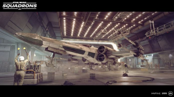 A T-65 X-Wing arrives for a landing inside a capital vessel of the New Republic.