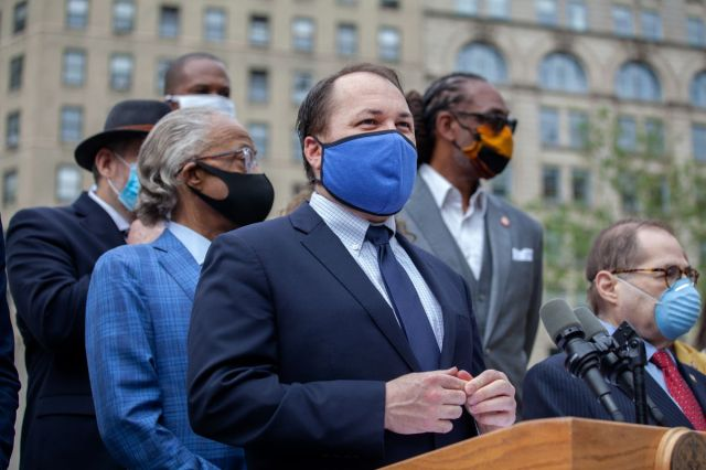 City Council Speaker Corey Johnson (D-Manhattan) speaks at a press conference in Foley Square about passing legislation for more police accountability, June 2, 2020.