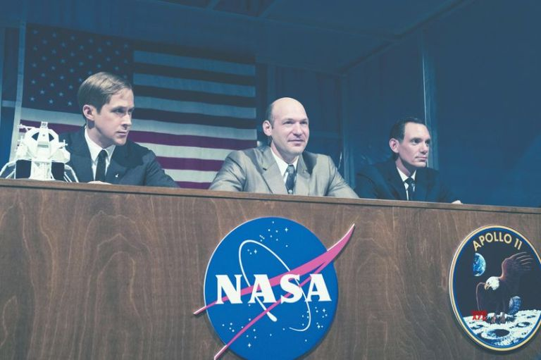 Ryan Gosling, Corey Stoll, and Lukas Haas as Neil Armstrong, Buzz Aldrin, and Mike Collins in First Man.