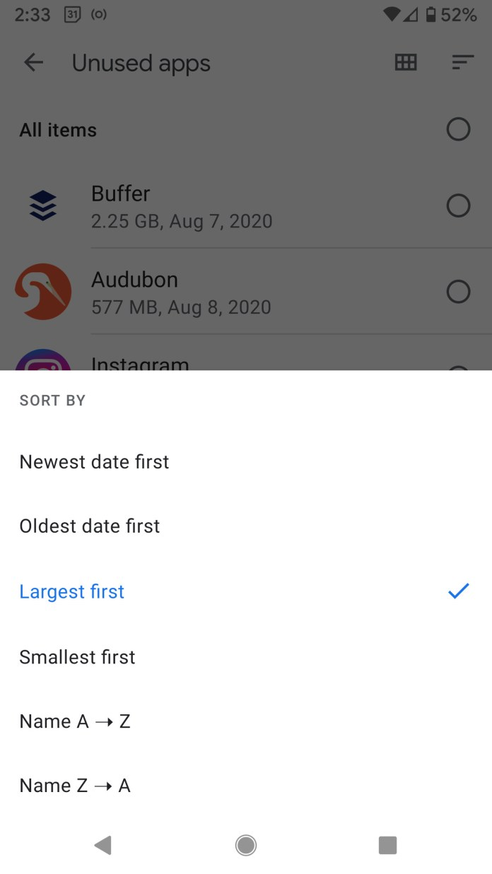 As with Google Play, you can sort the app list in several ways.