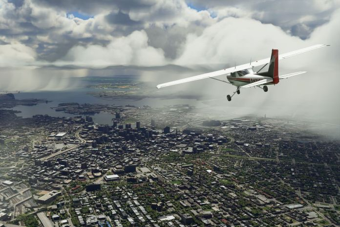 a plane flying over Baltimore toward the Chesapeake Bay in Microsoft Flight Simulator