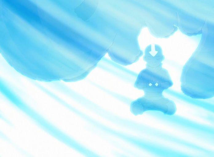 Aang and Appa encased in ice, in Avatar: The Last Airbender.