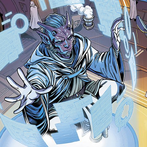 Jedi Master Estala Maru levitates with a cup of caf and observes dozens of hologram screens, in Star Wars: The High Republic #1, Marvel Comics (2021).