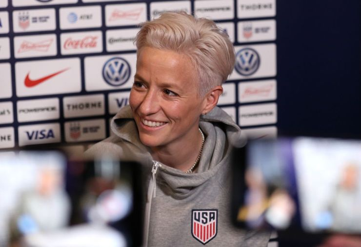 Women's soccer player Megan Rapinoe at a press conference.