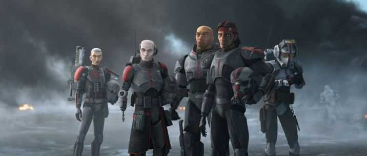 The five members of Clone Force 99 stand together in a grey, foggy background in The Bad Batch