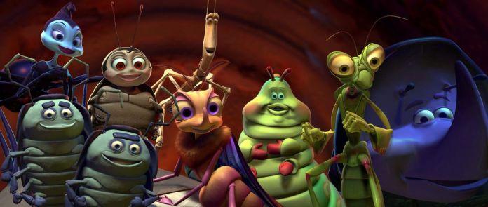 a black widow, two pill bugs, a gypsy moth, a ladybug, a stick bug, a caterpillar, a praying mantis, and a rhinoceros beetle pose