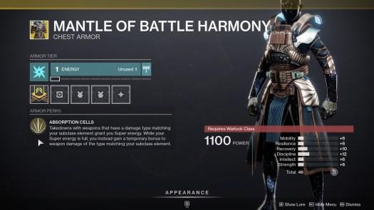 Mantle of Battle Harmony description Destiny 2 Season of the Chosen
