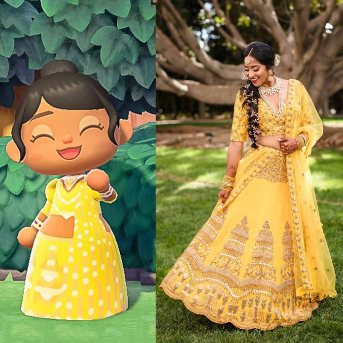 a two-panel image with, on the right, a photo of a woman in her yellow wedding lehenga, and on the left, a screenshot from Animal Crossing: New Horizons showing her character in a custom-made version of the same outfit