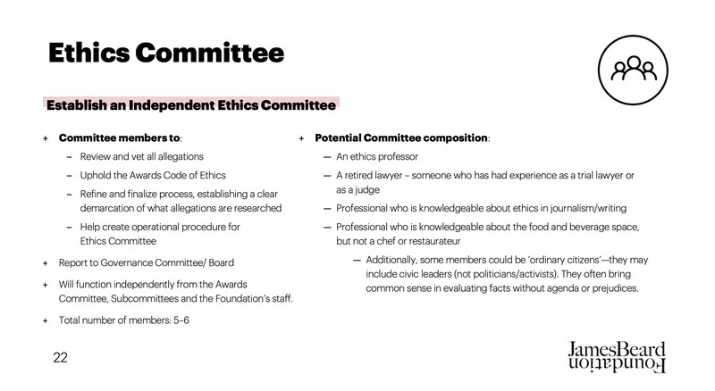 A slide from the James Beard Awards Audit presentation showing the details of a new ethics committee.