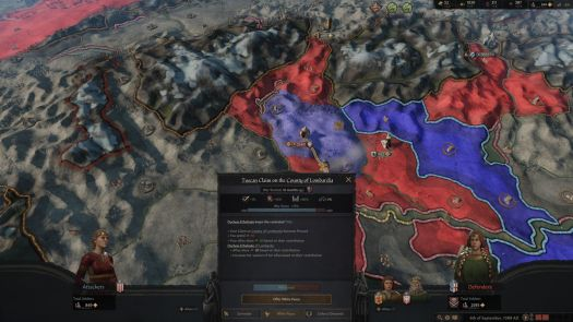 The war score is stuck at 75% while a massive army bears down from the north in Crusader Kings 3