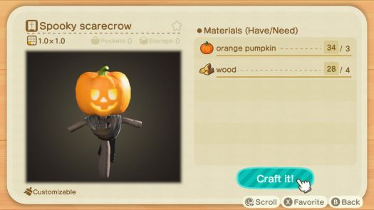An Animal Crossing recipe for a Spooky Scarecrow
