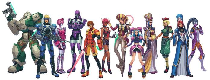 12 Phantasy Star Online characters stand side-by-side