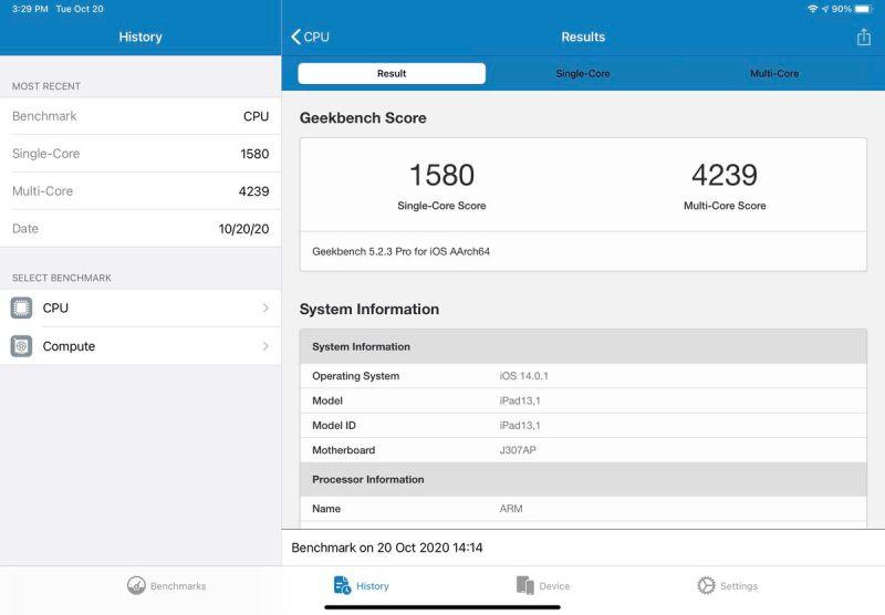 I risultati single core dell'iPad Air 2020 sono impressionanti, ma non raccontano l'intera storia