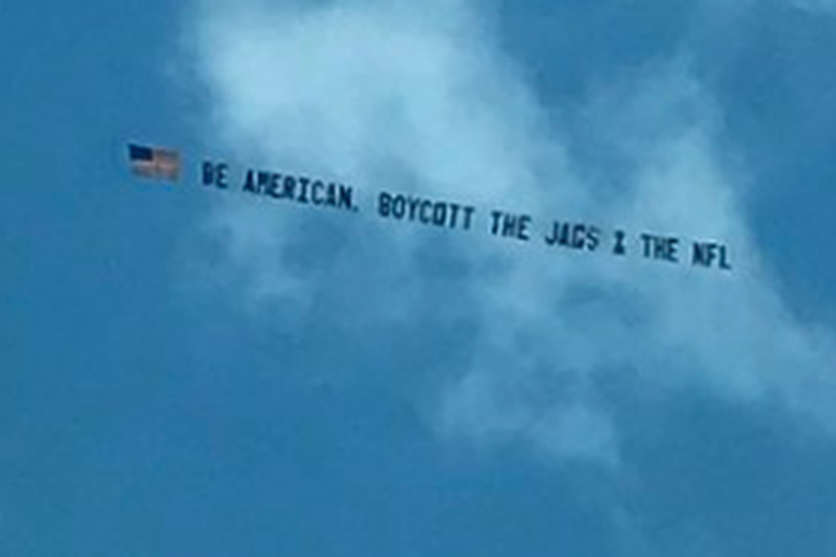 Nfl Protestors Flying Banners Over Jaguars Vs Rams Game