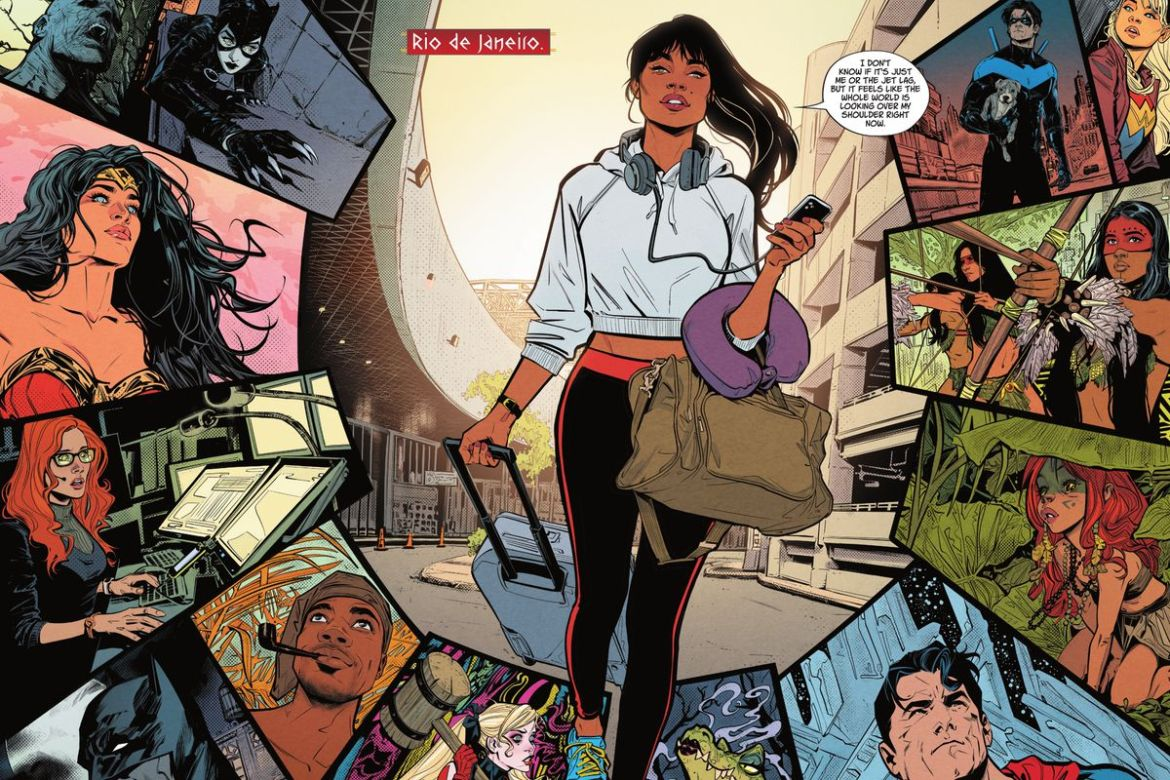"""Yara Flor, wearing leggings and a crop sweatshirt, walks down a Rio de Janeiro street with her suitcase and bag. Around her, panels of DC superheroes, Amazon basin warriors and gods from around the world all look up in surprise. """"It feels like the whole world is looking over my shoulder right now,"""" she says, in Wonder Girl #1, DC Comics (2021)."""