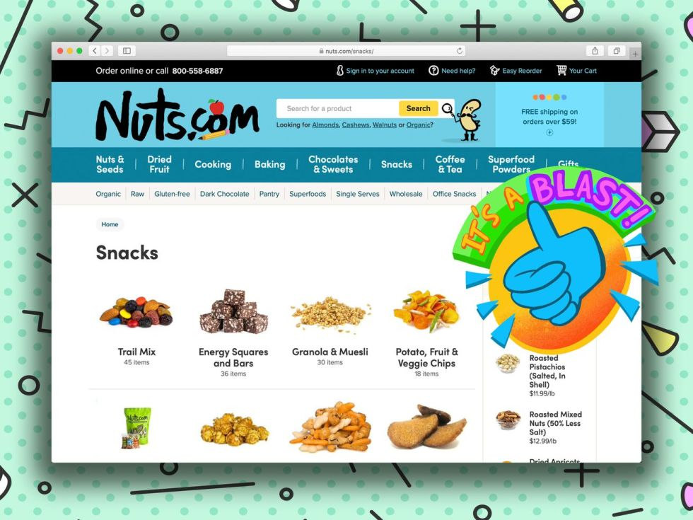 """A screengrab of the Nuts.com """"snack"""" page."""