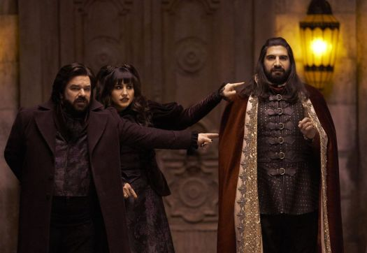 Laszlo and Nadja point at Nandor in What We Do in the Shadows TV series