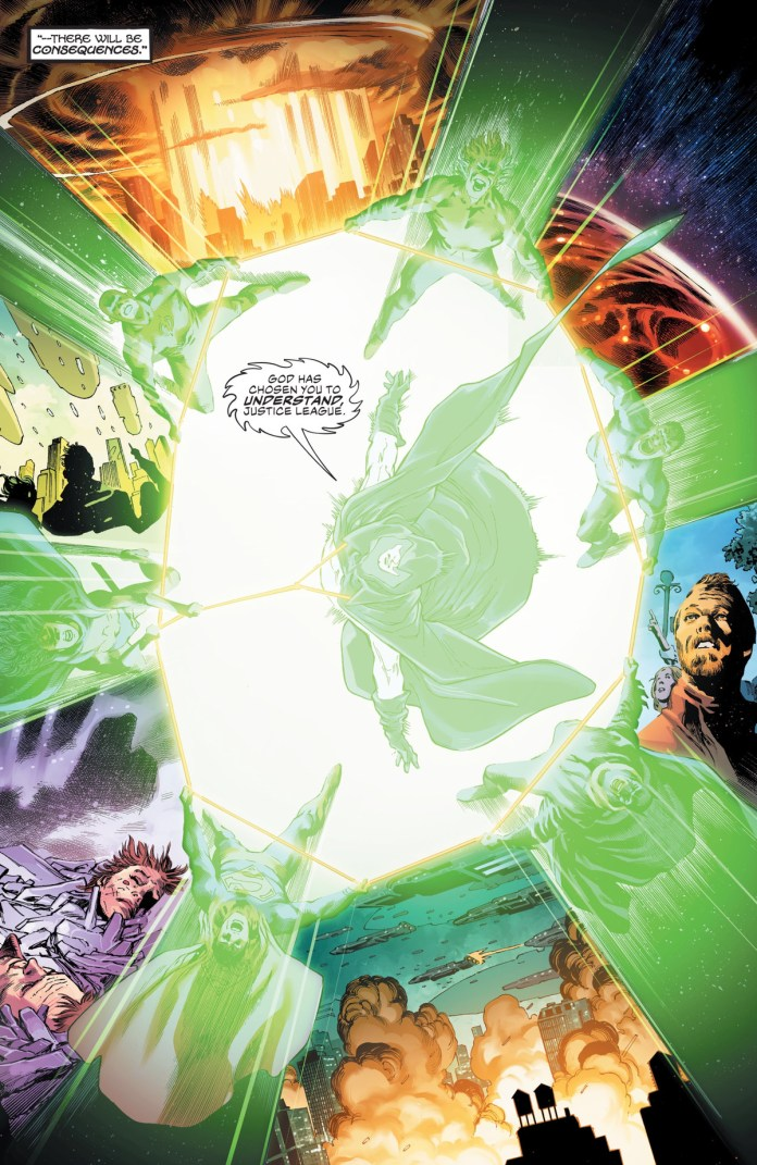 As they are all connected by Wonder Woman's golden lasso, the Spectre gives the Justice League a violent vision of the future, if there is no host to focus his vengeful nature, in Justice League #45.