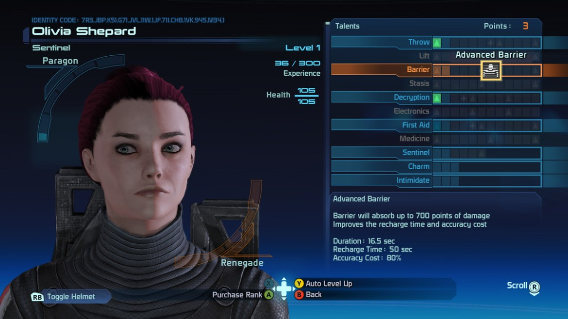 The level up screen in Mass Effect