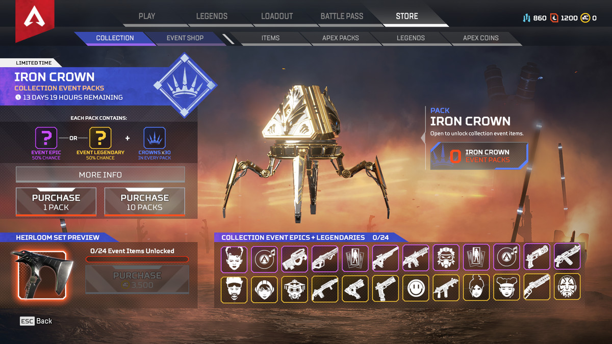 An Iron Crown event pack in Apex Legends