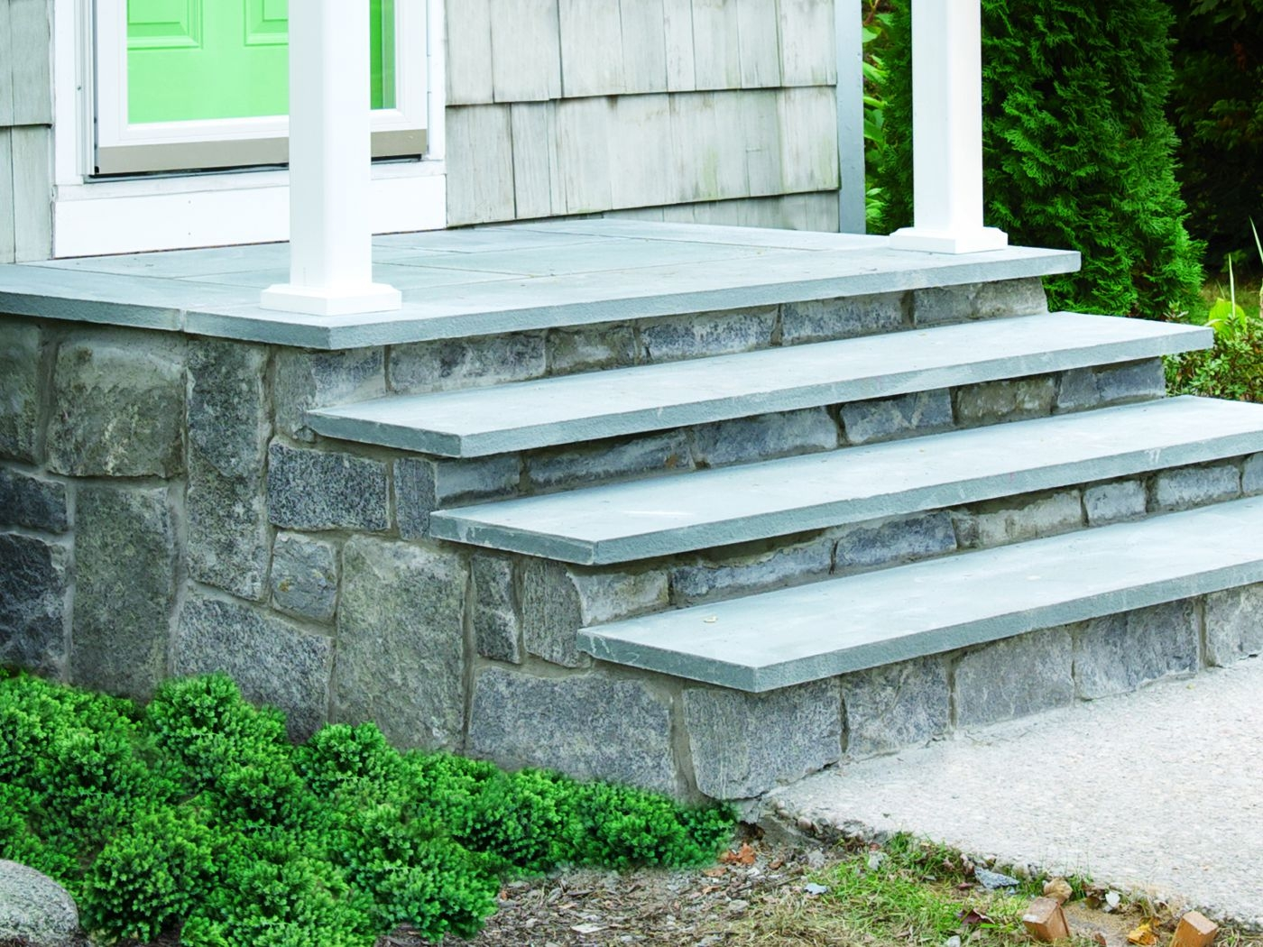 How To Clad Concrete Steps In Stone This Old House   Best Stone For Outdoor Steps   Concrete Steps   Garden   Stair Tread   Limestone   Natural Stone