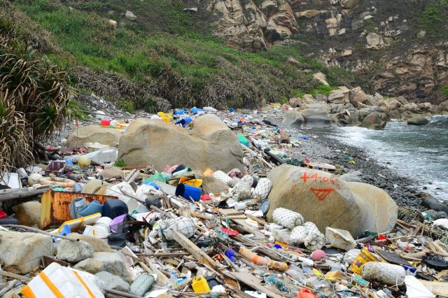 Plastic waste along the shores of Hong Kong