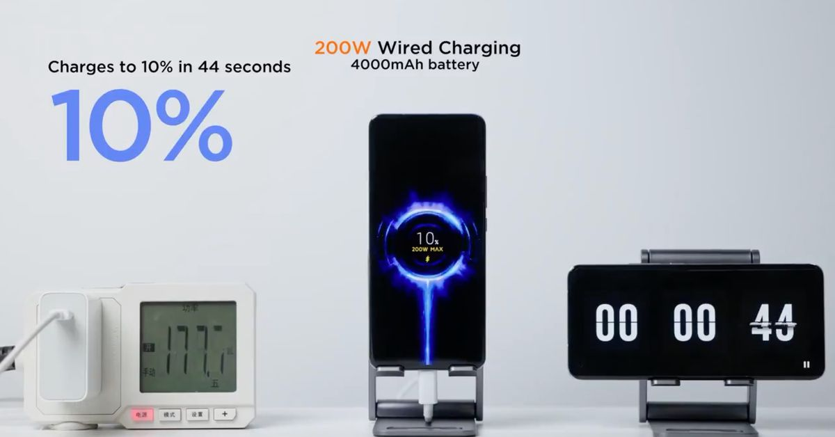 Xiaomi says it can now fully charge a phone in eight minutes at 200W