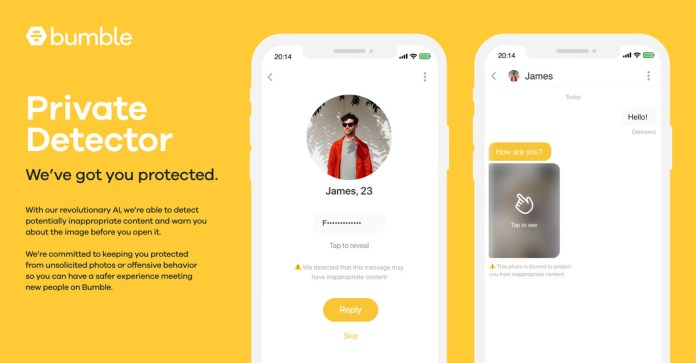 Image result for bumble dating app launches feature to blur out nude images