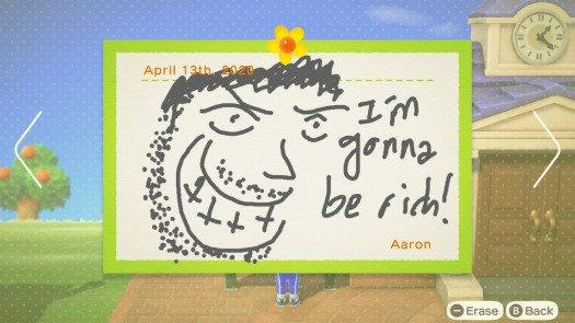 """Animal Crossing: New Horizons - a picture of a grinning man, saying """"I'm gonna be rich!"""" posted on the island bulletin board."""