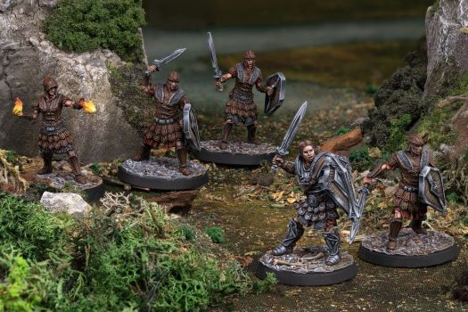 Pro-painted legionaires, including a spellcaster, from the Elder Scrolls miniatures game by Modiphius.
