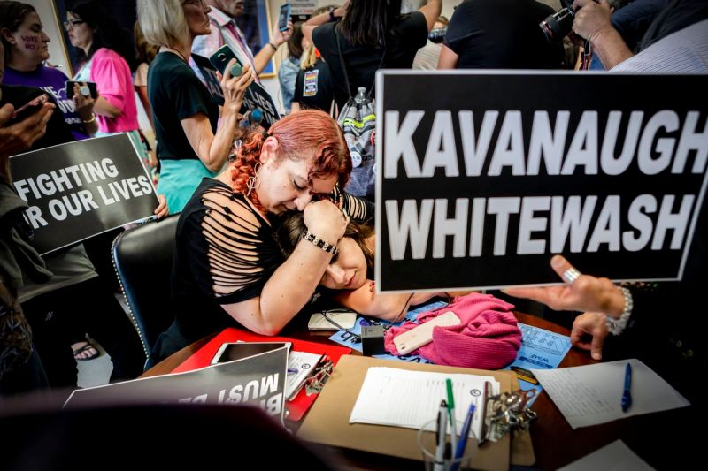 Protesters staged a sit-in inside the office of Sen. Susan Collins (R-Maine) office for over 7 hours on Oct. 5, 2018, hoping the Republican senator would vote against the confirmation of Judge Brett Kavanaugh to the Supreme Court