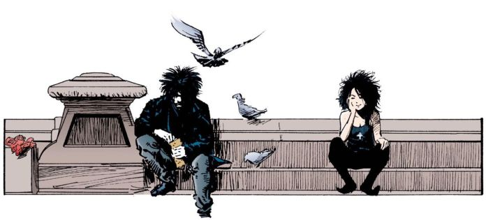Dream and Death from Sandman sit together on a fountain, with pigeons.
