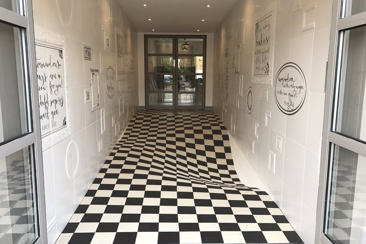 tile design uses optical illusion to
