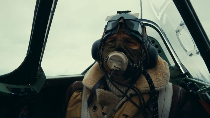 Tom Hardy in the cockpit of his fighter plane in Dunkirk