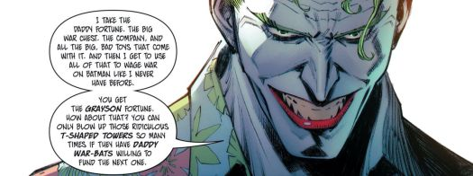 """""""I take the daddy fortune. The big war chest. The company, and all the big, bad toys that come with it. And then I get to use all of that to wage war on Batman like I never have before,"""" says the Joker in Batman: Secret Files #3, DC Comics (2020)."""