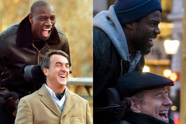 On the left, François Cluzet and Omar Sy in The Intouchables; on the right, Kevin Hart and Bryan Cranston in The Upside, the American remake.