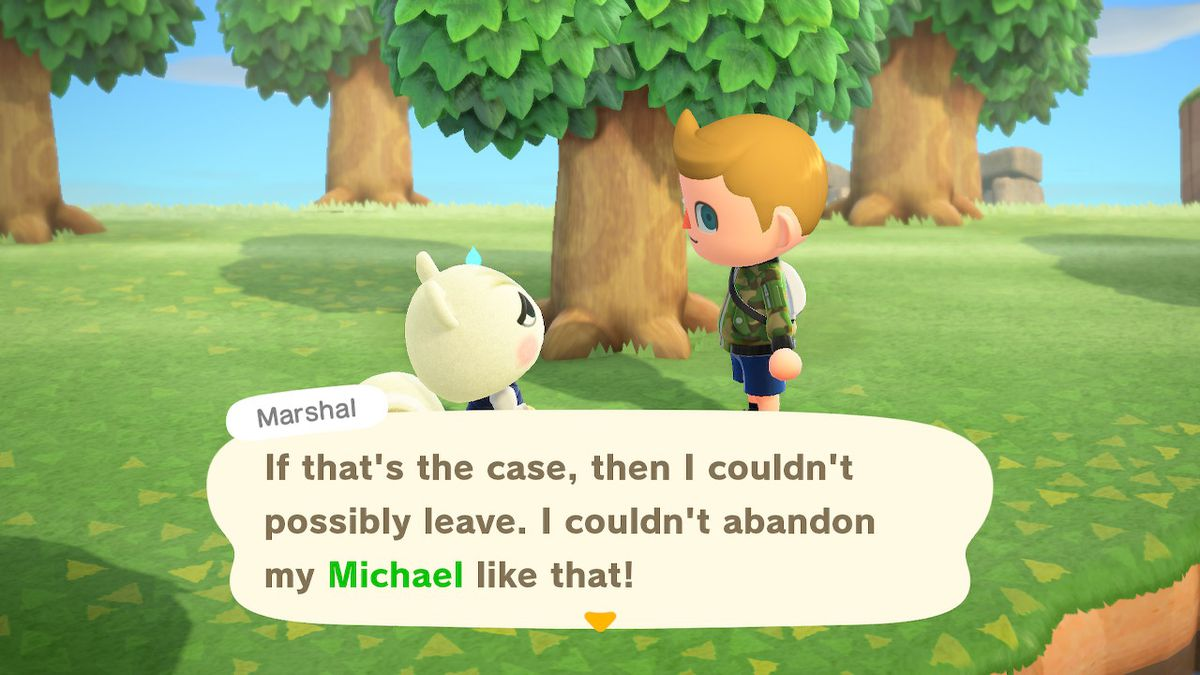 Marshal the squirrel speaks to a villager in a screenshot from Animal Crossing: New Horizons