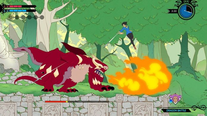 Mina, the heroine of Battle Chef Brigade, attacks a monster from above.