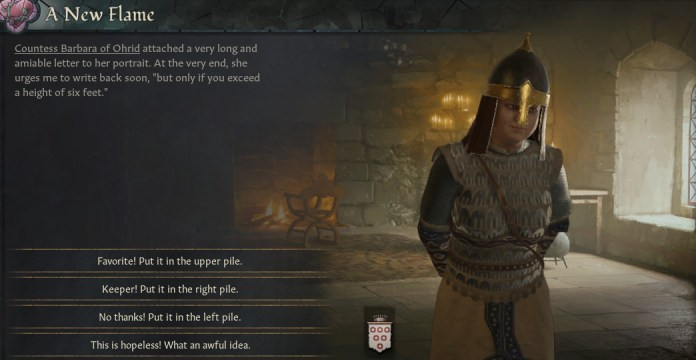 """Crusader Kings 3 - an image of a lady who a medieval lord is courting. She urges the player to write back soon if they """"exceed a height of six feet"""""""