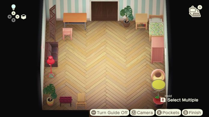 An Animal Crossing home with all the furniture stacked against the walls, leaving a wide-open space.