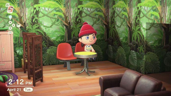 Simone's avatar sitting on an orange bench.