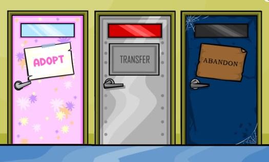 doors that say adopt, transfer, and abandon