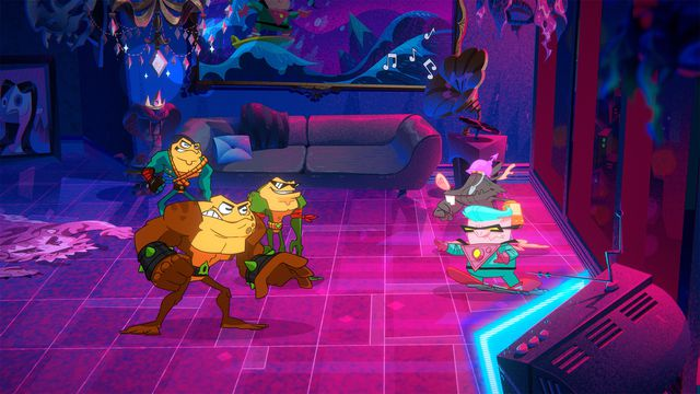The Battletoads, Rash,Zitzand Pimple, face down enemies in a colorful screenshot from the new Battletoads.