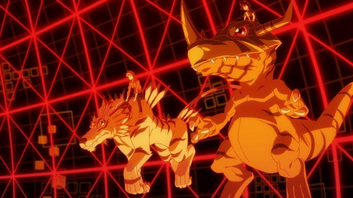Two DigiDestined ride atop their Digimon in a deep orange virtual field