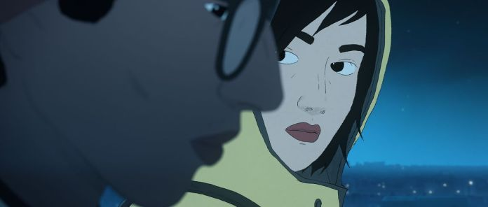 A girl in a hoodie looks at a boy wearing glasses in a screenshot from I Lost My Body