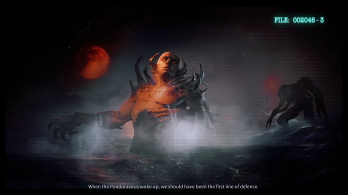 A still image from a slightly animated cutscene shows Pandorans rising from the depths.