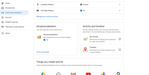 A screenshot of Google's Data and Personalization tab.