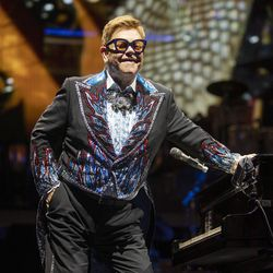 Elton John stands and looks out at the audience as he performs at Vivint Smart Home Arena in Salt Lake City on Wednesday, Sept. 4, 2019.