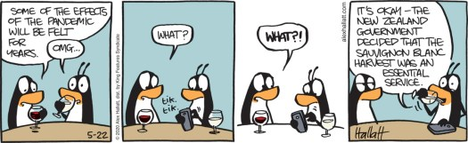 """""""Some of the effects of the pandemic will be felt for years,"""" says one wine-drinking penguin, while another panics and pulls out their phone. """"It's okay,"""" the second penguin continues, """"The New Zealand government decided that the sauvignon blanc harvest was an essential service, in the 5/22/20 strip of """"Arctic Circle."""""""